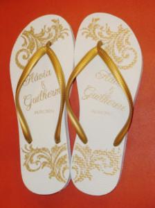Chinelos personalizados para casamento Flavia e Guilherme