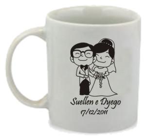 Canecas de porcelana personalizadas para casamento Suellen e Dyego