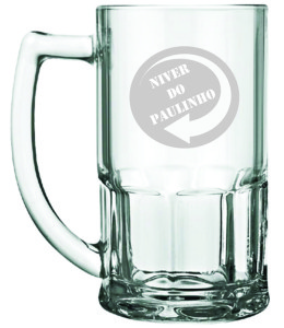 Canecas de vidro jateadas Niver do Paulinho
