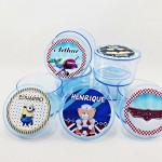 Potinho de acrilico personalizado para lembrança de aniversario infantil