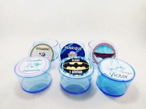 Potinhos de acrilico personalizados para aniversário infantil