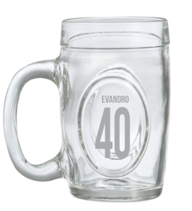 Canecas de vidro jateadas fritz 300 ml para aniversário Evandro