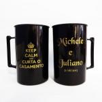 Canecas de acrílico personalizadas Michele e Juliano