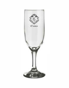 Taças de vidro personalizadas para champanhe gallant 180ml Maria Eduarda 15 anos