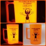 Canecas de acrilico personalizadas laranja neon