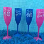 Taças de acrilico personalizadas Deize 40 anos