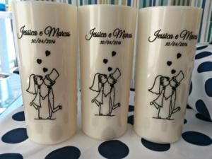 Copos long drink personalizados Jéssica e Marcos