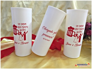 Copos long drink personalizados Jane e Bruno