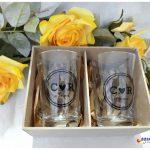 Caixa de MDF com copo de vidro caldereta
