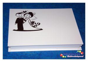 Caixa de convite baixa branca com preto