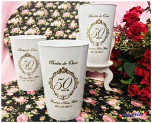 Copos caldereta personalizados para Bodas de Ouro Francisco e Rosa Maria