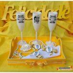 Taças de acrilico personalizadas Bodas de Perola Edna e Carlos