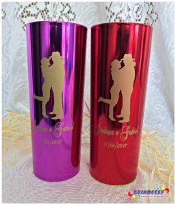 Copos long drink metalizados casamento Jordana e Gabriel
