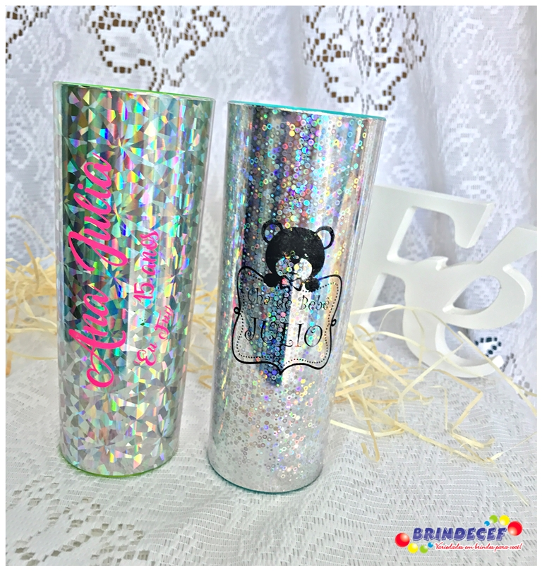 Copos long drink metalizados para festa infantil