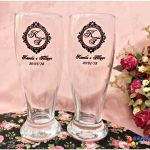 Copos de vidro munich personalizados Kamila e Fillippe