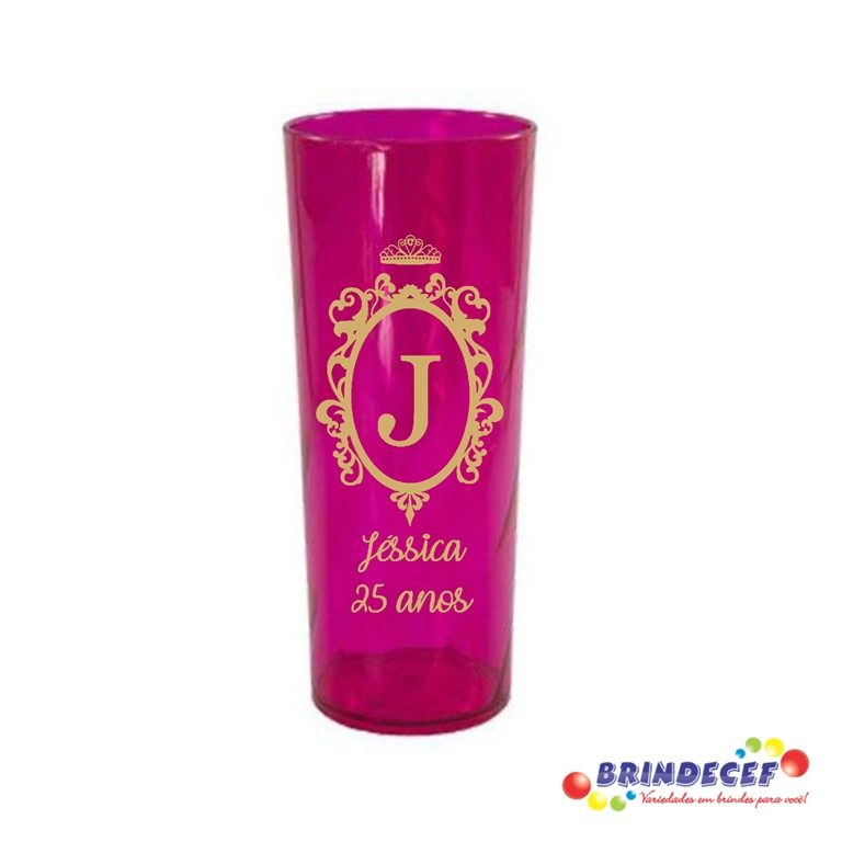 Copos long drink twister personalizados Jéssica 25 anos
