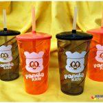 Copos twister com canudo personalizado Panda Kids