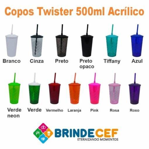 Copo com Tampa e Canudo Personalizado Twister 500ml