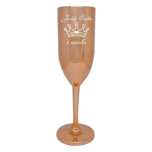 Taça de Champanhe de Acrílico 190ml Personalizada Metalizada