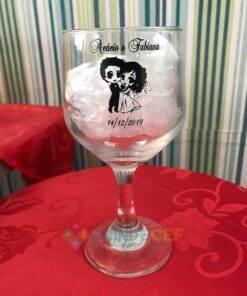Taça de Vidro Personalizada Bistrô para Vinho Tinto e Branco 2