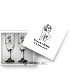 Kit de Lembrancinha para casamento - caixa MDF com 2 taças personalizadas 1