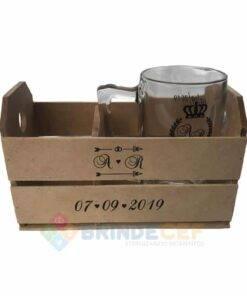 Kit Caixote de MDF + 1 Caneca de Vidro modelo Taberna 340ml personalizados