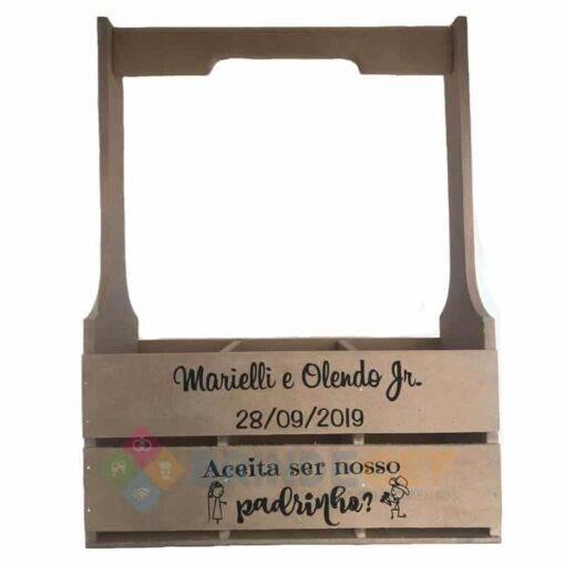 Caixote de MDF com Alça e Três Divisórias Personalizado