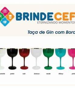 Taça de Gin de Acrílico Com Borda Metalizada 475ml Personalizada 2