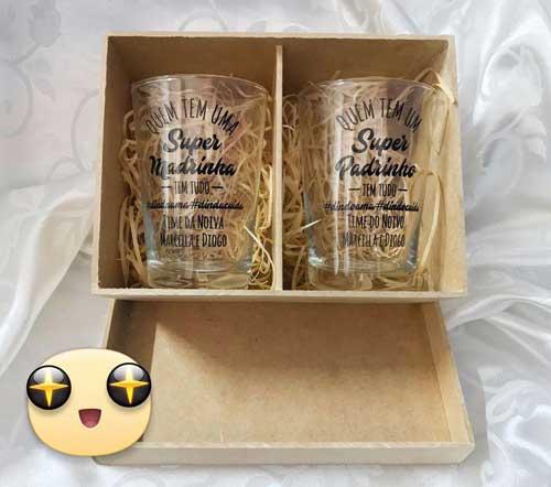 Kit de Caixinha de Mdf com 2 copos de vidro caldereta 350 ml personalizados