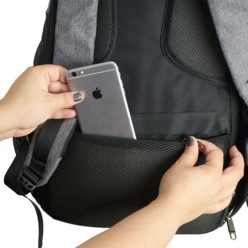 Mochila de Poliéster Anti-Furto USB com Segredo Personalizada