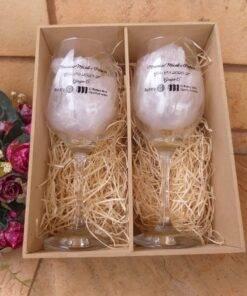 Kit Mdf Personalizada com duas taças de vinho Barone 385ml